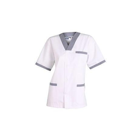 Blusa Sanitario Pico botones combi vichy