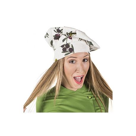 Gorro cocinero estampado olivas